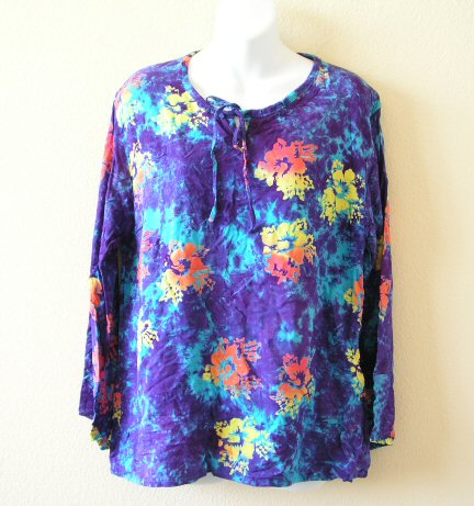 Block Printed Floral Batik Top / Blouse