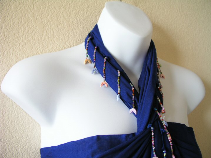 BP133 - Royal Blue Beaded Sarong Pareo