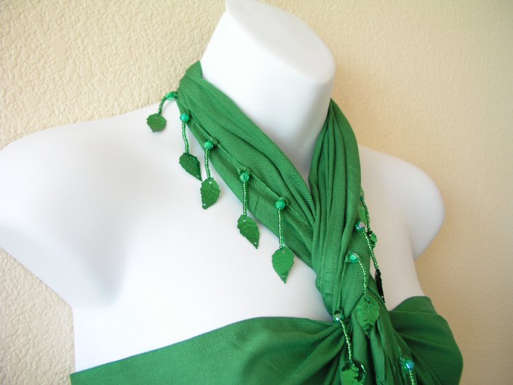 BP198 - Green Beaded Sarong Pareo