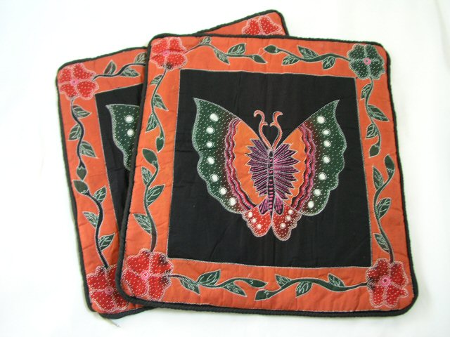 Two Handpainted Batik Cushion, Pillow Slip