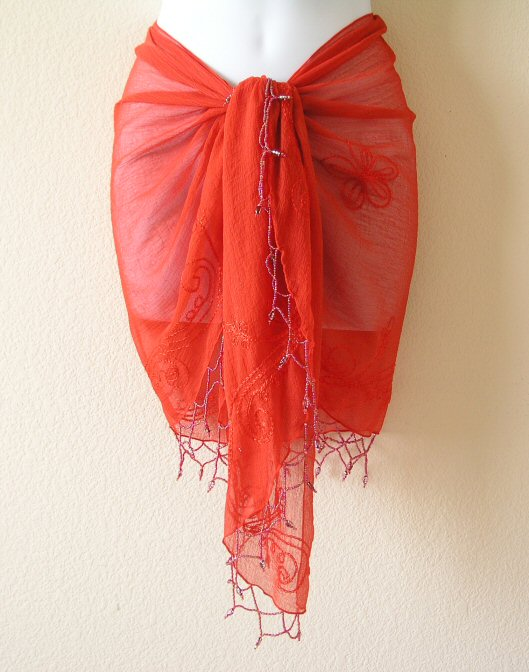 Chiffon Crust Embroidered Wrap Scarf / Shawl with Beads