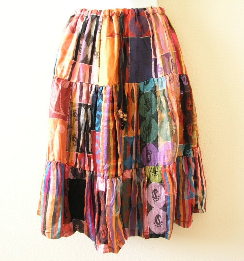 Pashmina BoHo Pleasant Multi print Patchwork Skirt