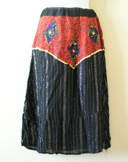 Bohemian Embroidered Skirt with Mirrors & Bells