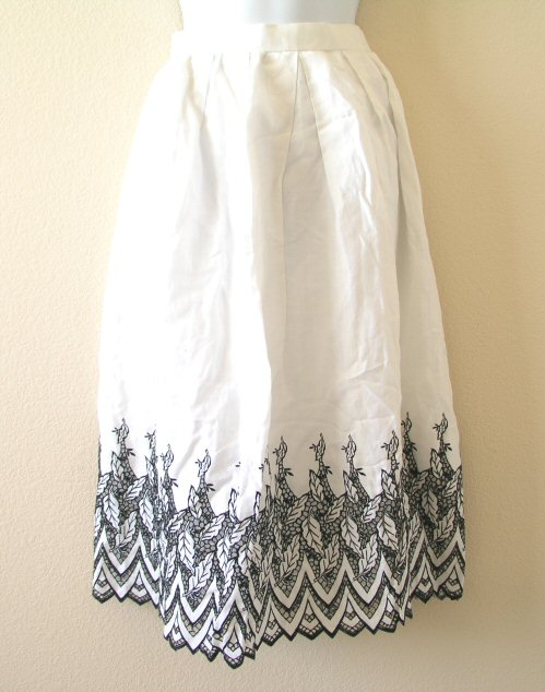 BoHo Hippie Gypsy Embroidered Skirt with Lace
