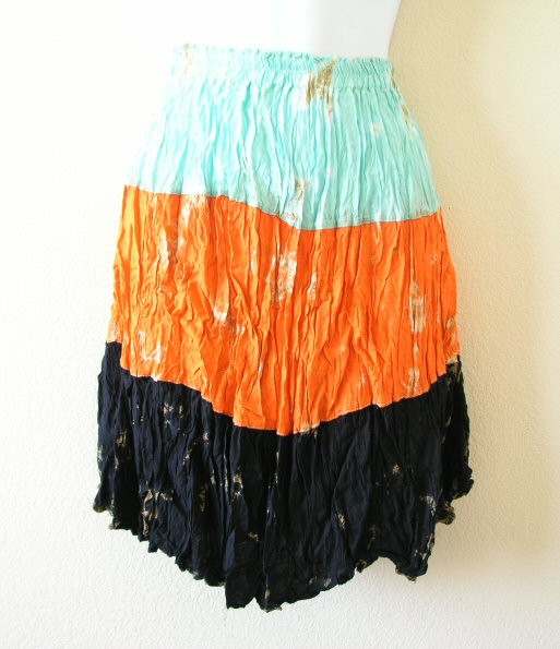 Hippie Tiedye Tier Patchwork Crinkle Skirt
