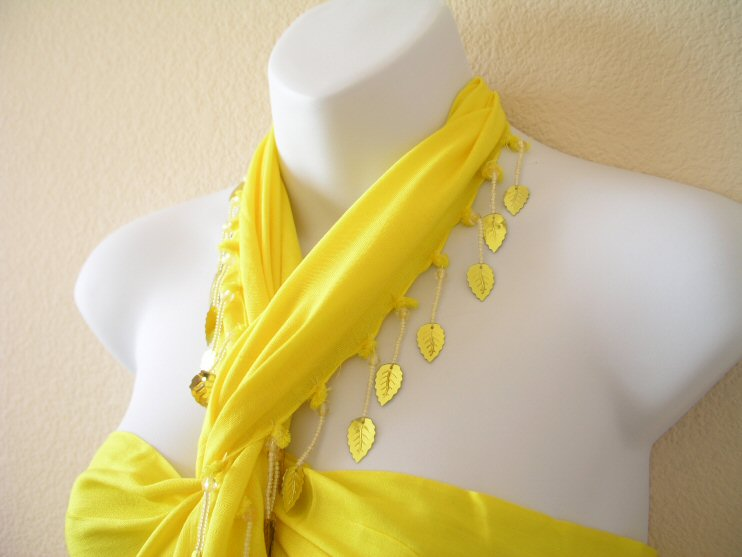 BP214 - Yellow Beaded Sarong Pareo