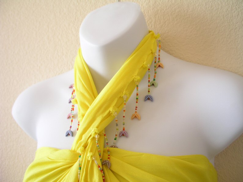 BP253 - Yellow Beaded Sarong Pareo