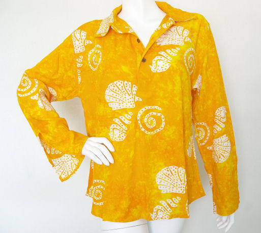 Block Printed Seashells Batik Top / Blouse