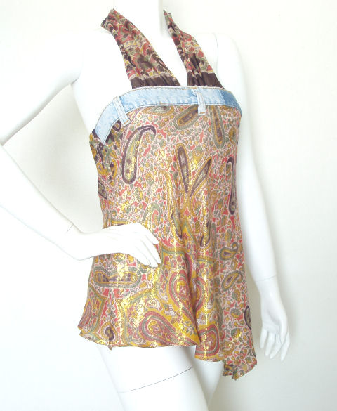 India BoHo Hippie Gypsy Lurex Sexy Denim Strap Top