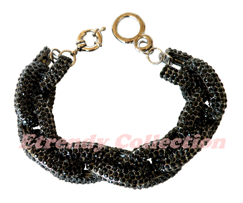 Black Chunky Pave Classic Chain Bracelet