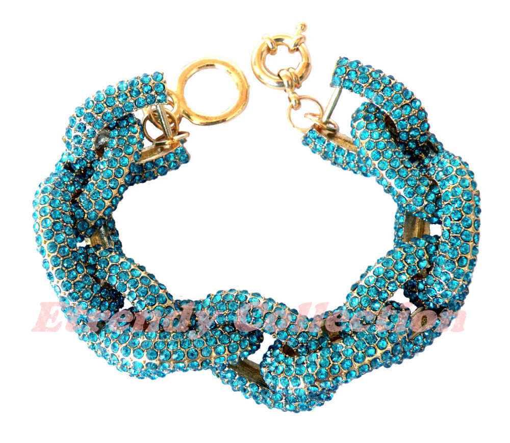 Blue Chunky Pave Classic Chain Bracelet