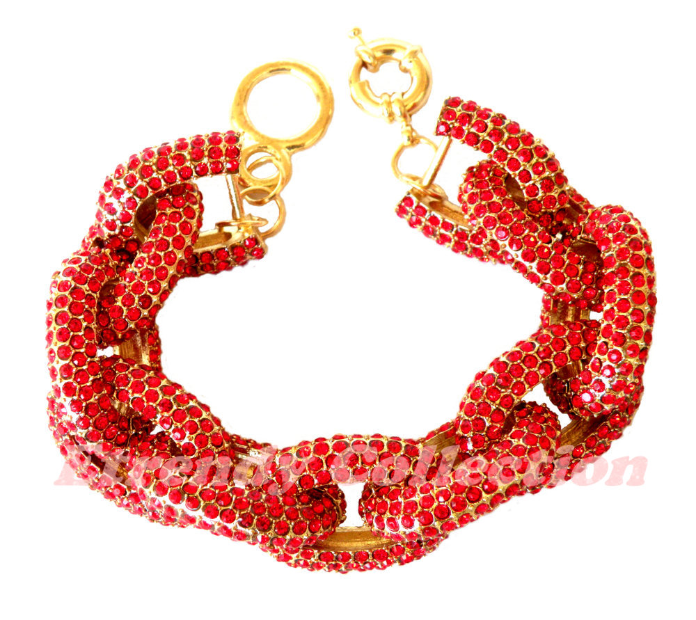 Red Chunky Pave Classic Chain Bracelet