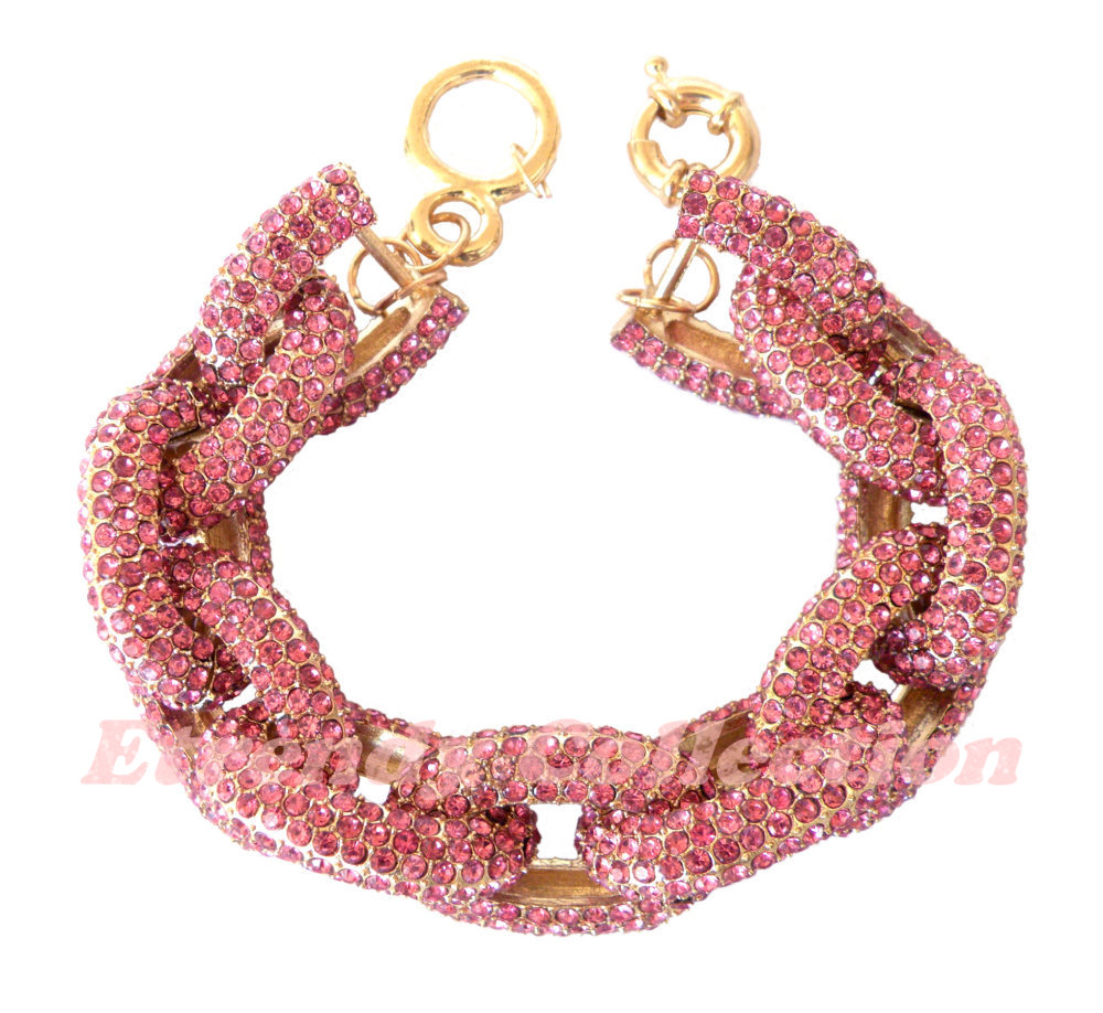Rose Chunky Pave Classic Chain Bracelet