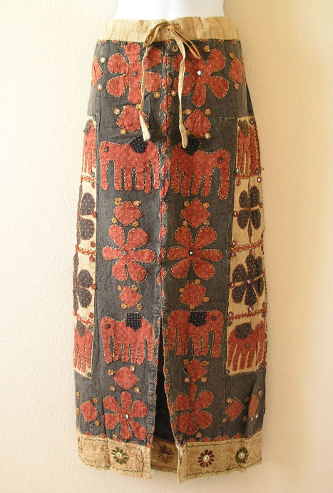 G142 Renaissance Heavily Embroidered Long Skirt