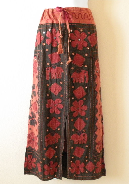 G158 Renaissance Heavily Embroidered Long Skirt