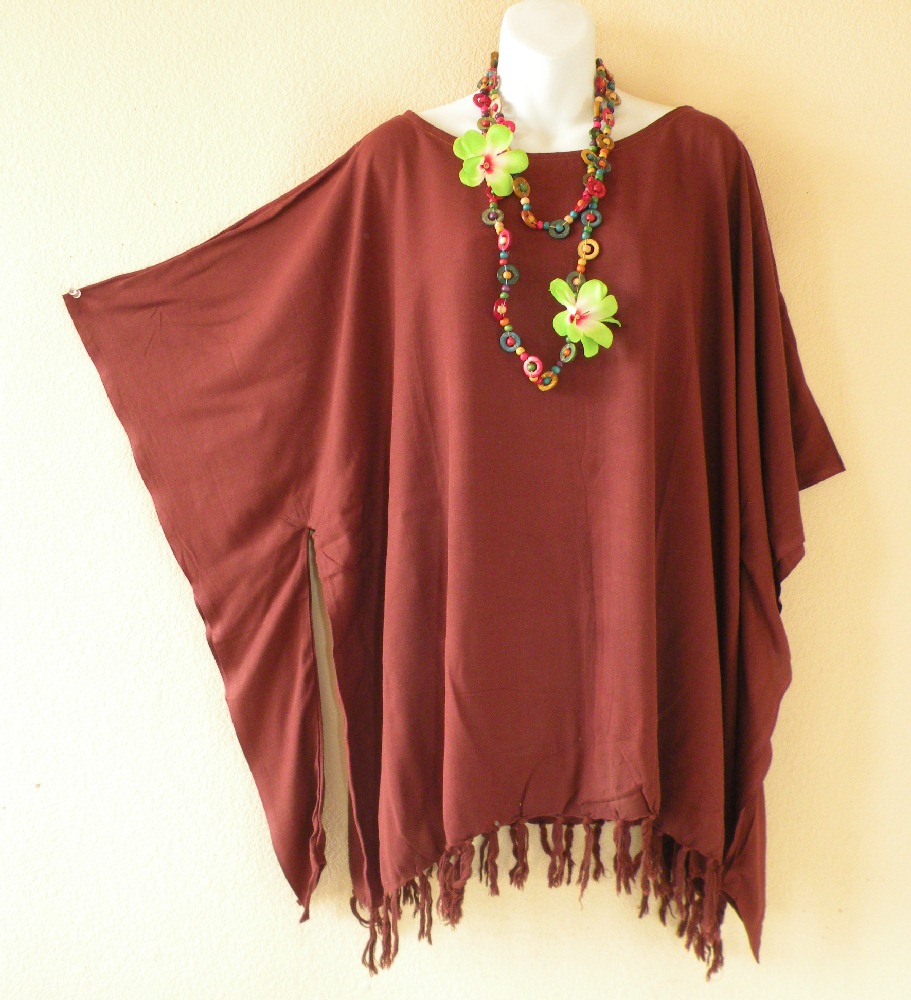 KB052 Plus Size Brown Kaftan Kimono Tunic Blouse