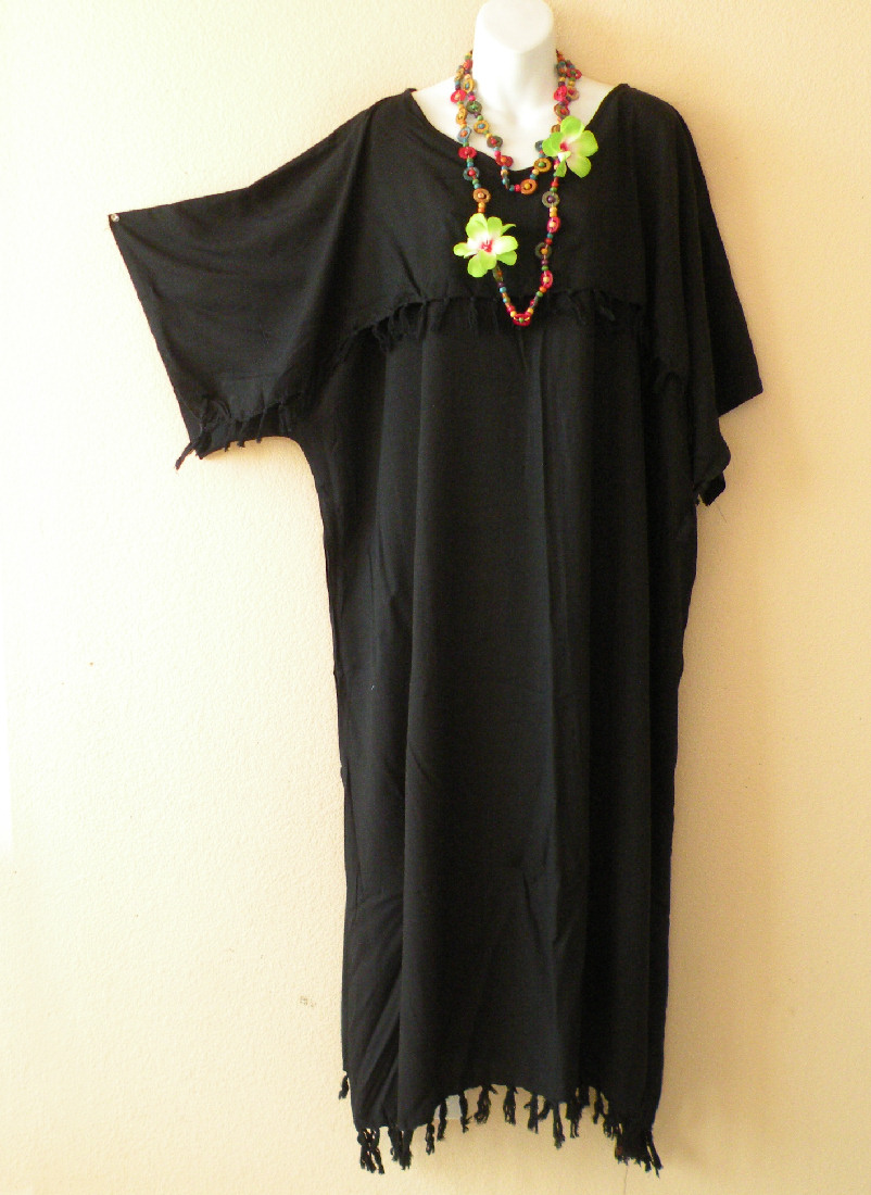 KD011 Black Plus Size Kaftan Kimono Abaya Dress