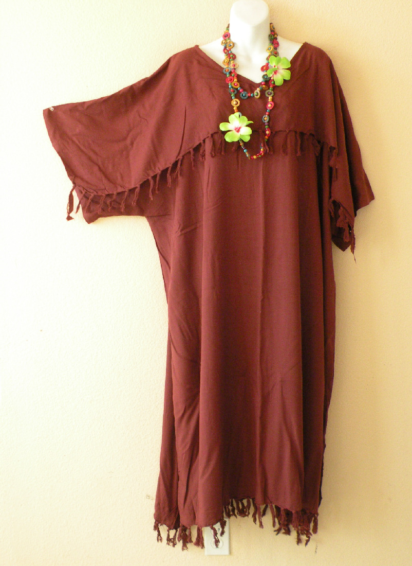KD012 Brown Plus Size Kaftan Kimono Abaya Dress