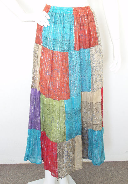 Gypsy Pleasant Colorful Print Patchwork Skirt