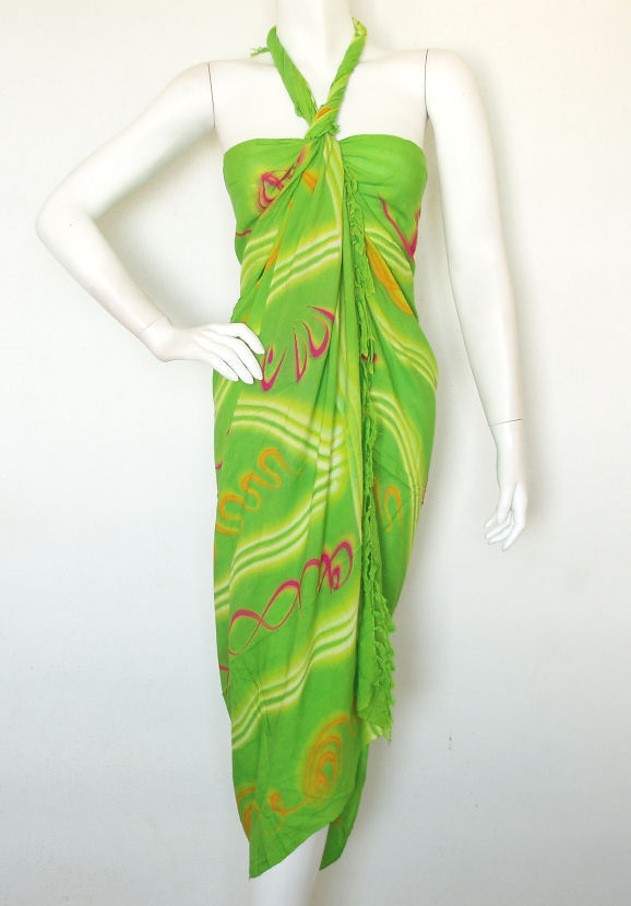 Stripes Printed Wrap Around Cover up Sarong Pareo
