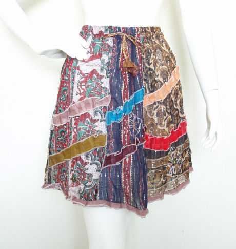 Hippie Pleasant Print Patchwork Skirt with Mirror