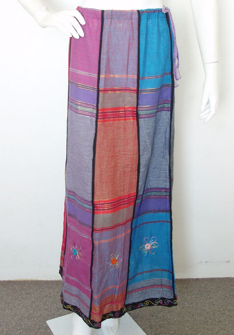 PS031 - Embroidered Patchwork Maxi Skirt
